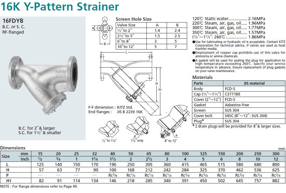 วายสเตรนเนอร์วาล์วเหล็กดักไทล์ Kitz 10fdybf Ductile Iron